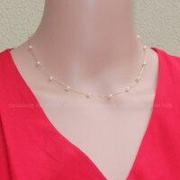 Fine Jewelry Mini 5 6mm 18K lock bone chain seawater pearl necklace specular neckalce