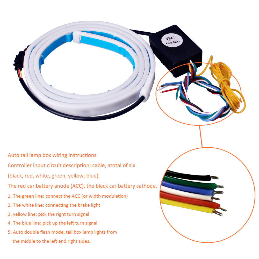 47 3 Color Flowing Type Drl Trunk Box Turn Signals Rear Lights Led Wiring Instructions Getsubject Flow Strip Light 6