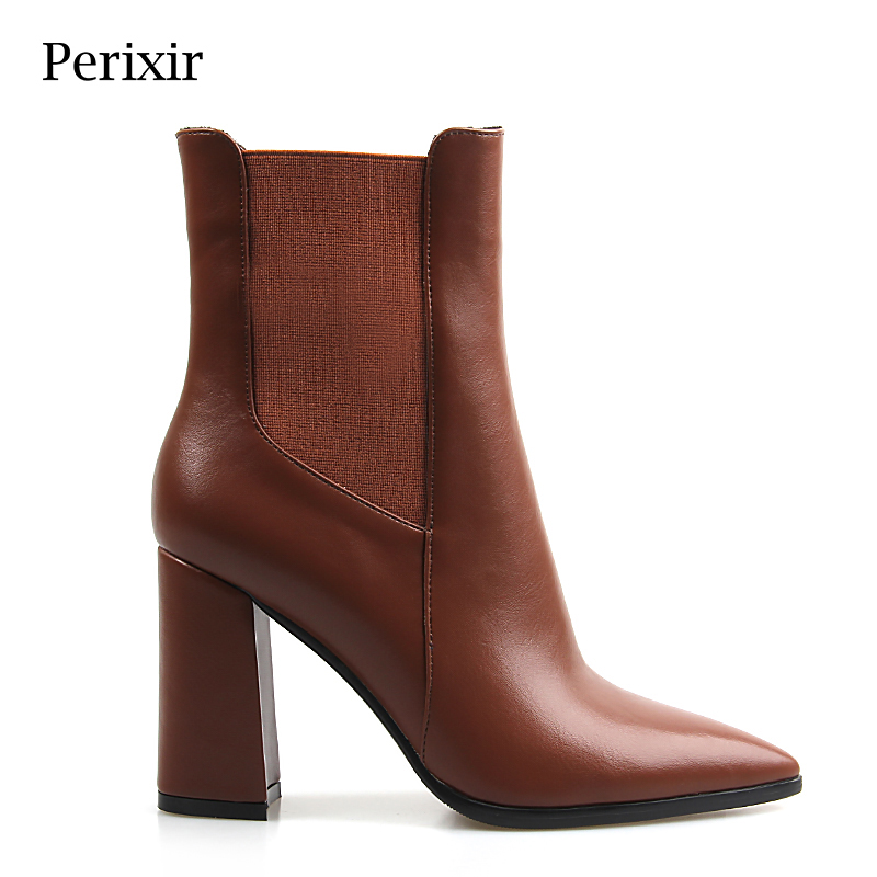 Women Ankle Boots PU Brown Square Heel Boots Pointed Toe Winter Solid Zipper Ankle Boots Shoes Autumn Spring Boots цена