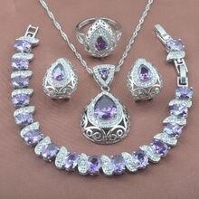 b15c1378d831 Inusual púrpura zirconia 925 mujeres de plata esterlina Juegos de joyería  pulsera COLLAR COLGANTE Pendientes anillo yz0210