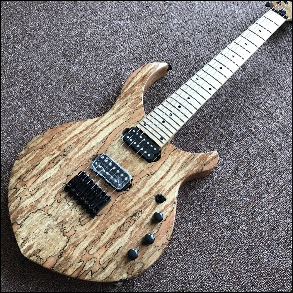 new arrival high quality Chinese OEM 7 strings Electric Guitar, Natural color, Spalted Maple Top,Real photo showing guitarra