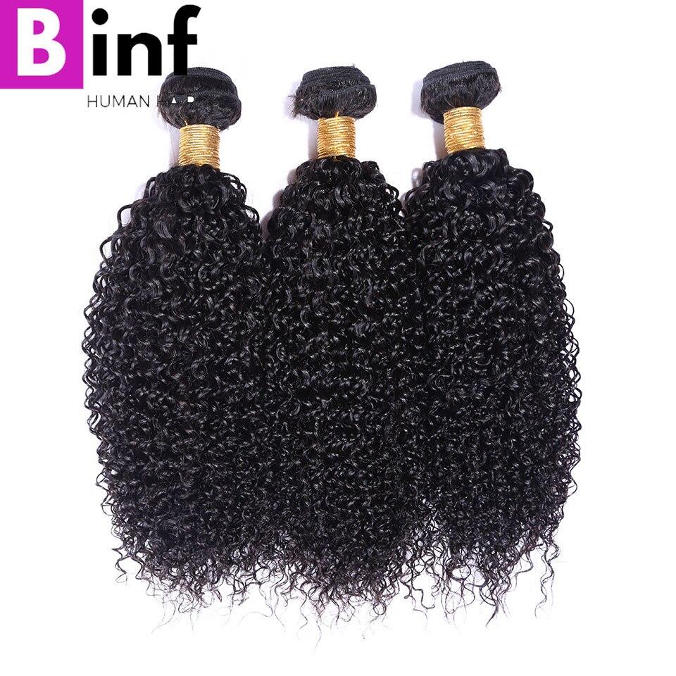BINF Hair Indian Kinky Curly 100% Human Hair Weave Bundles 1B Natural Color 3 Bundles Remy Human Hair Free Shipping
