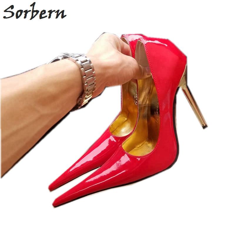 Ayakk.'ten Kadın Pompaları'de Sorbern Uzun Sivri Toes Kadın Pompa 12 Cm Yüksek Topuklu Ayakkabılar Bayanlar Boyutu 44 Topuklar Akşam Ayakkabı Metal Stilettos Topuk kayma Unisex'da  Grup 1