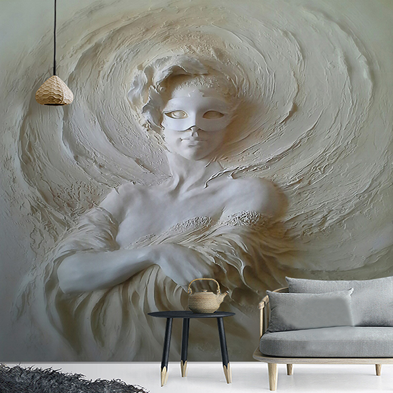 European Style 3D Stereo Relief Mask Beauty Statue Mural Wallpaper Living Room Bedroom Hotel Entrance Background Wall Paintings