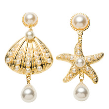 Irregular Shell Earrings Statement Starfish Pearl Dangle Gold For Women 2019 Korean Earings Fashion Jewelry Drop