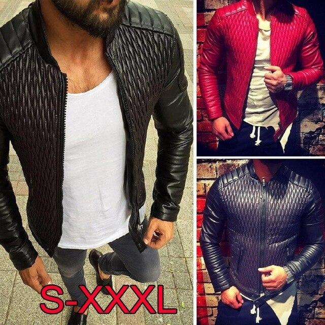 5da3d6fddf7f HaiFux Quilting Leather Jackets Men 2018 Autumn Fashion Motorcycle Jacket  Men Red Designer Leather Coat Plus Size European Style