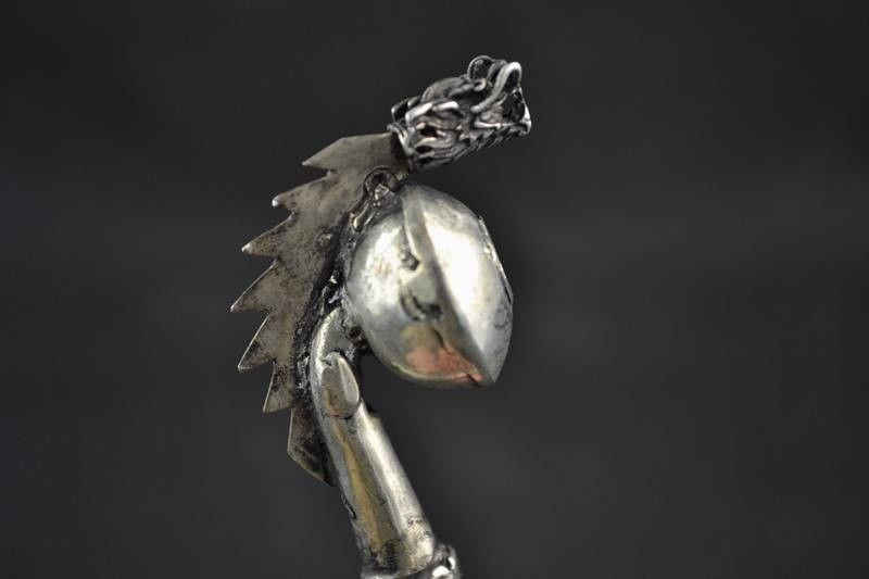 rare Chinese Old Tibet Silver Handmade Carved Dragon Statue Smoking Tool