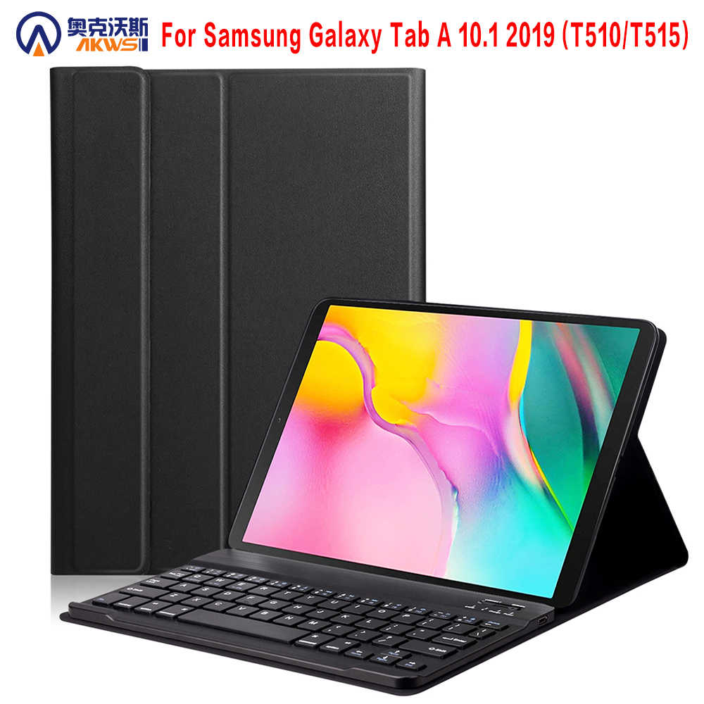 Bluetooth Keyboard Case 2019 untuk Samsung Galaxy Tab A 10.1 SM - T510 T515 Wireless Keyboard Kulit PU Tablet Cover