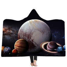 Universe Planet Hooded Blanket 3d Printed Warm Winter Throw For Bed Manta Sofa Wearable Travel Koc Sherpa Fleece Mantas