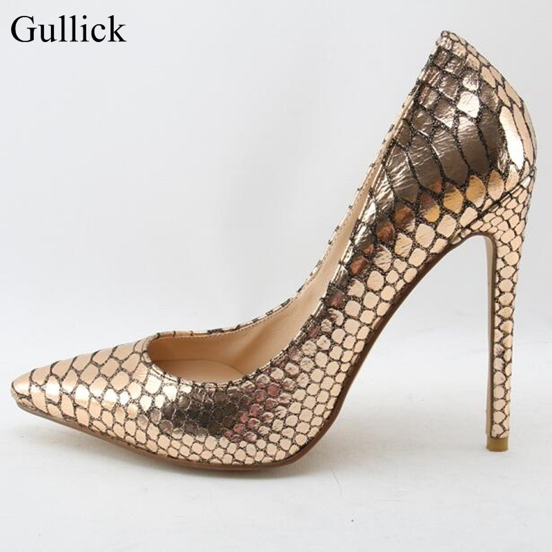 Newest Gold Snakeskin High Heel Shoes 2018 Sexy Pointed toe Stiletto Heels Woman Slip-on Pumps Thin Heels Shoes newest flock blade heels shoes 2018 pointed toe slip on women platform pumps sexy metal heels wedding party dress shoes
