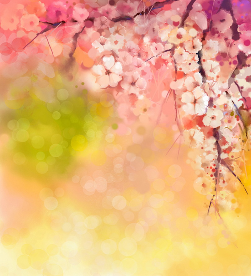 HUAYI Chic Floral Photography Pink Bokeh Watercolor Cherry blossoms Newborn Backdrop D9652 8x10ft valentine s day photography pink love heart shape adult portrait backdrop d 7324