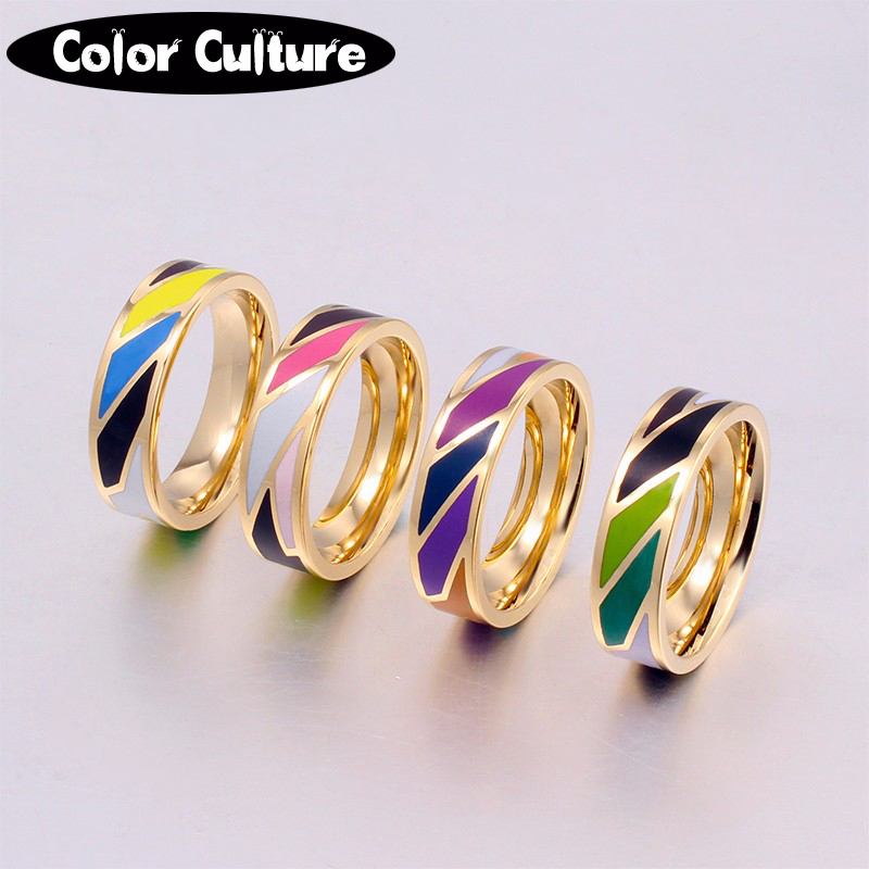 Rainbow Rings for Women Filled Color Beautiful and Elegant Plated steel Jewelry Ring Friendship Gift