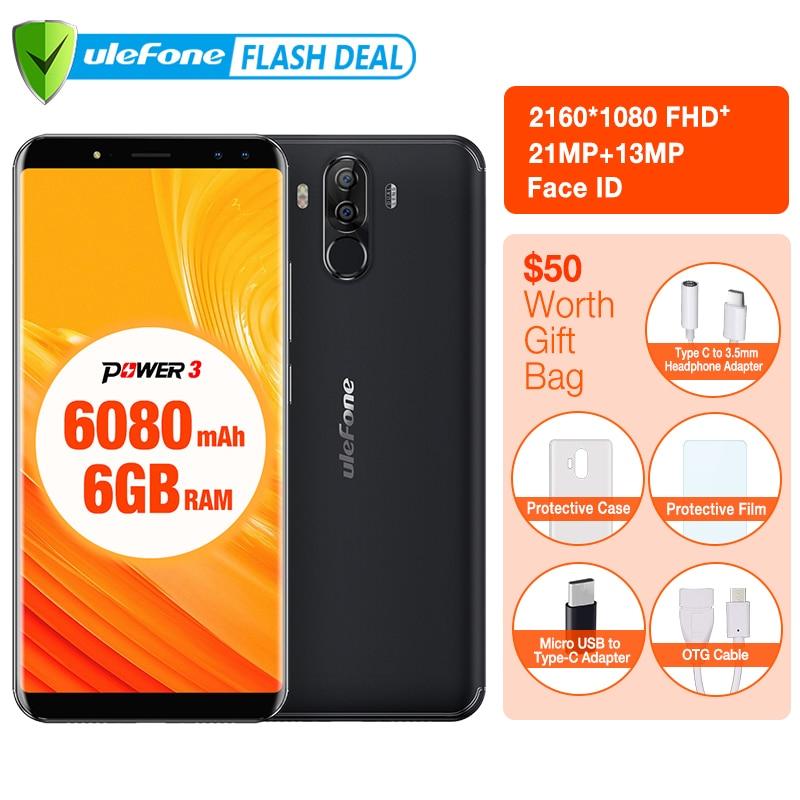 Оригинал Ulefone Power 3  6.0 FHD + Экран 6080 мАч большая Батарея Смартфон Android 7.1 Face ID& Touch ID четыре Камер  4G мобильный телефон