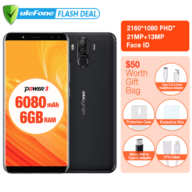 """Original Ulefone Power 3 6.0"""" FHD+Screen 6050mAh Big Battery Smartphone  Android 8.1 Face ID& Touch ID Four Cameras 21MP Camera"""