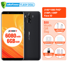 "Original Ulefone Power 3 6.0"" FHD+Screen 6080mAh Big Battery Smartphone  Android 7.1 Face ID& Touch ID Four Cameras 21MP Camera (China)"