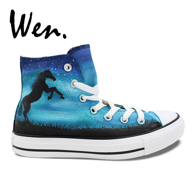 Wen Original Design Custom Hand Painted Shoes Horse Nebula Blue High Top Men Women's Canvas Sneakers Christmas Gifts wen blue hand painted shoes design custom shark in blue sea high top men women s canvas sneakers for birthday gifts