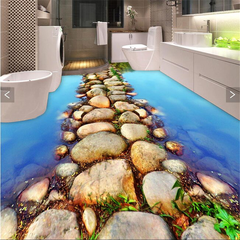 Custom Photo Floor 3DWallpaper clear river stone Bathroom Floor Mural-3d PVC Wallpaper Self-adhesive Floor painting wall sticker  custom 3d floor painting wallpaper stone steps sunshine pvc self adhesive living room bedroom bathroom floor sticker wall mural