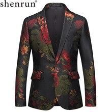 Shenrun 男性の花ブレザージャケット男性スリムフィットブレザーウエディングパーティードレスステージ衣装プラスサイズ 5XL 6XL ファッションスーツジャケット