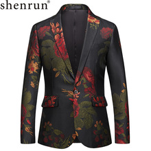 Shenrun Mens Floral Blazer Jacket Men Slim Fit Blazers Prom Party Dress Stage Costume Plus Size 5XL 6XL Fashion Suit Jackets