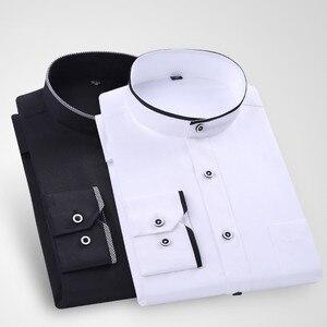 Image 3 - Camisas de vestir cómodas y suaves para hombre, camisas de manga larga entalladas con cuello levantado, camisas de esmoquin para fiesta y boda