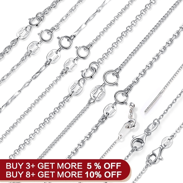 BAMOER Classic Basic Chain 100% 925 Sterling Silver Lobster Clasp Adjustable Necklace Chain Fashion Jewelry SCA009-45