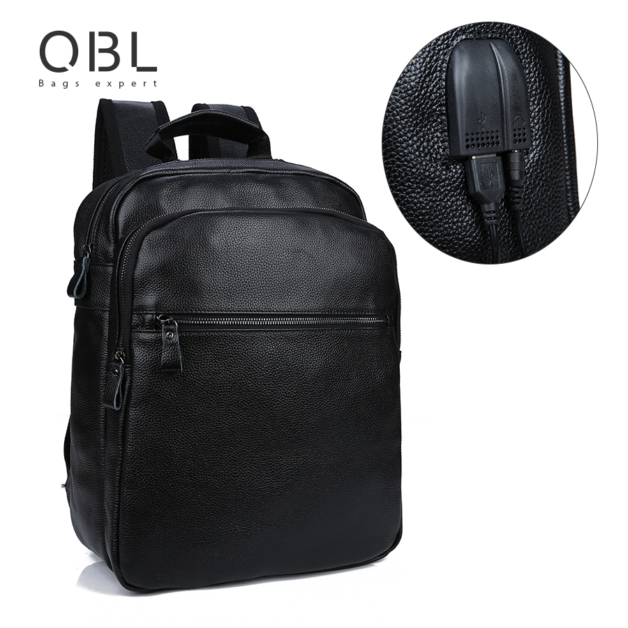 QiBoLu Genuine Leather Backpack Men Bagpack with Extrnal USB Port Travel Laptop Sac a Dos Homme Mochilas Hombre Masculina MBA76 : 91lifestyle