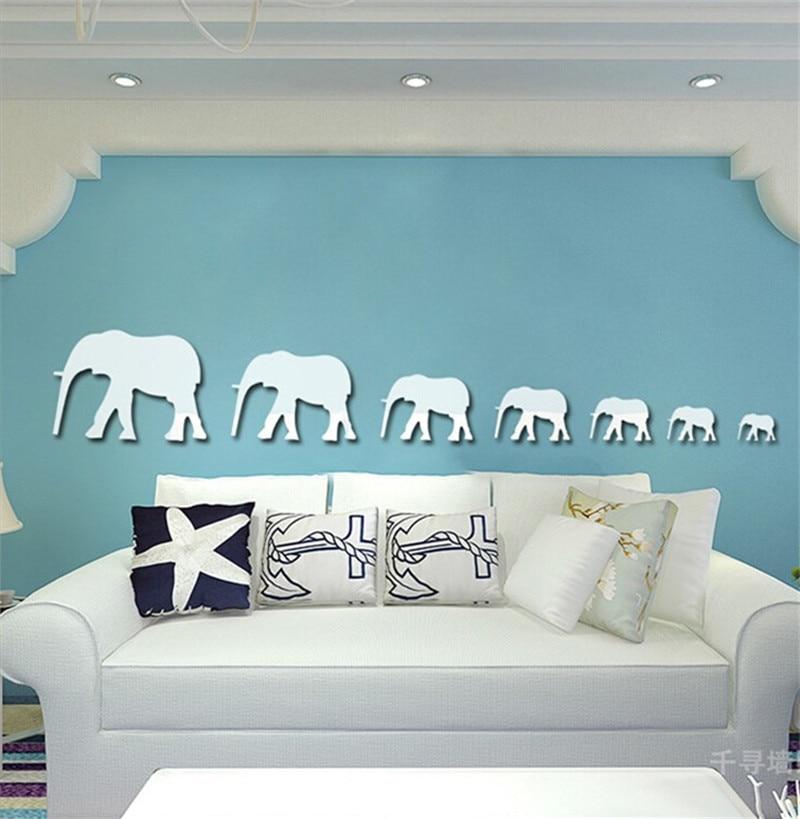 3d sticker wall sticks for home decor modern elephant mirror wall