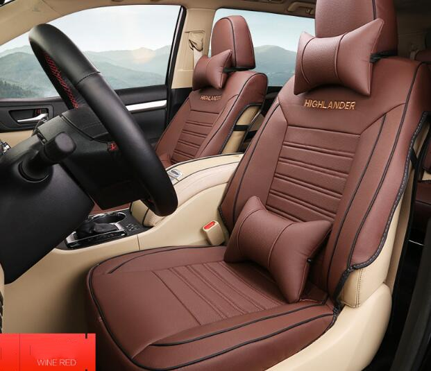 For 5 Seat TOYOTA Highlander 2015 Wine Red Car Seat Covers Set Interior Covers Car Styling Cushion Protector Car Accessories high quality car seat covers for lifan x60 x50 320 330 520 620 630 720 black red beige gray purple car accessories auto styling