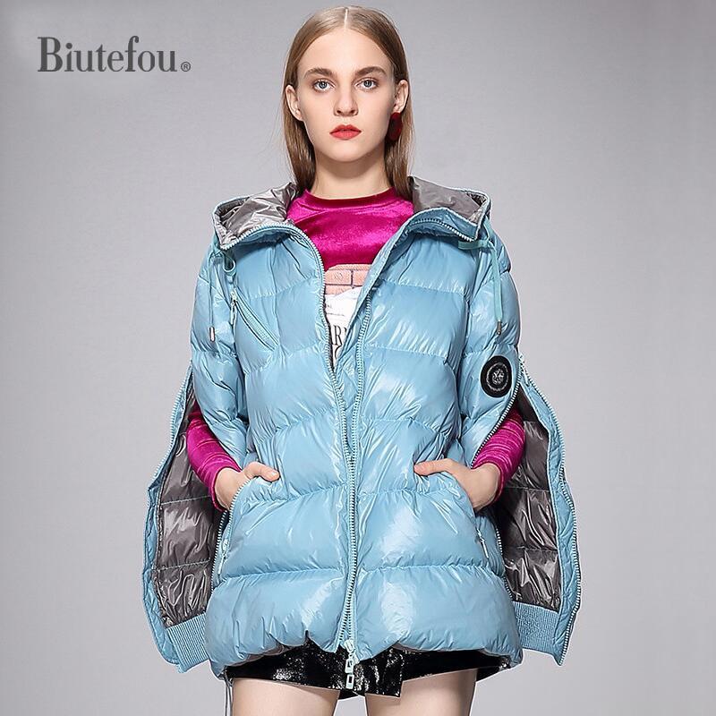 2018 Winter fashion zipper spliced cuff split   Down     Coats   women warm hooded   Down     Coats