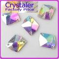 Super Brilhante ~! 13x18mm Forma Cosmic Crystal Clear AB sew na pedra 2holes botões de vidro de cristal base de Prata.