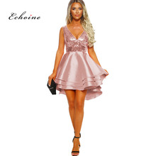 Echoine Party Princess Dress Evening Sexy V-Neck Sequined Cascading Ruffle Short Midi Irregular Hem Female Vestido Women Clothes