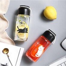 Cat Mug Water Bottle with Rope Leak Proof Glass Water Bottle Drinkware Transparent Water Bottles Cute Anima Sports Fruit Tumbler