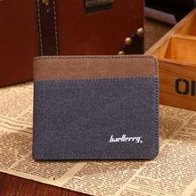 wholesale Hot sale three colors canvas new fashion men wallet short paragraph multifunction wallet