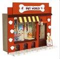Casa de bonecas Em Miniatura Modelo de Construção Kits 3D Casa De Bonecas De Madeira Feitos À Mão Presente Birstday Lojas Européias-Mundo Animal de Estimação