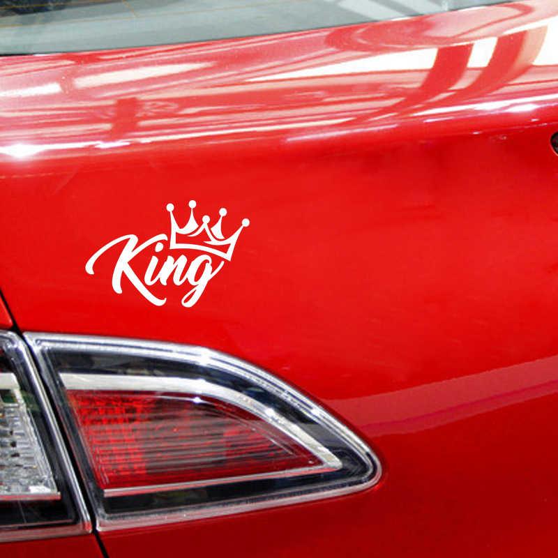 QYPF 17cm * 11.1cm KING taç komik vinil dekorasyon araba pencere Sticker çıkartması siyah gümüş C15-1514