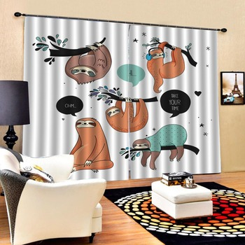 Luxury Blackout 3D Window Curtains For Living Room Bedroom Animal park curtains