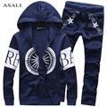 Men Spring Autumn Tracksuit Patchwork Mens Solid Casual Sportwear Suit Set Hip Hop Coat +Pants Plus Size XXXL For Men#MS052