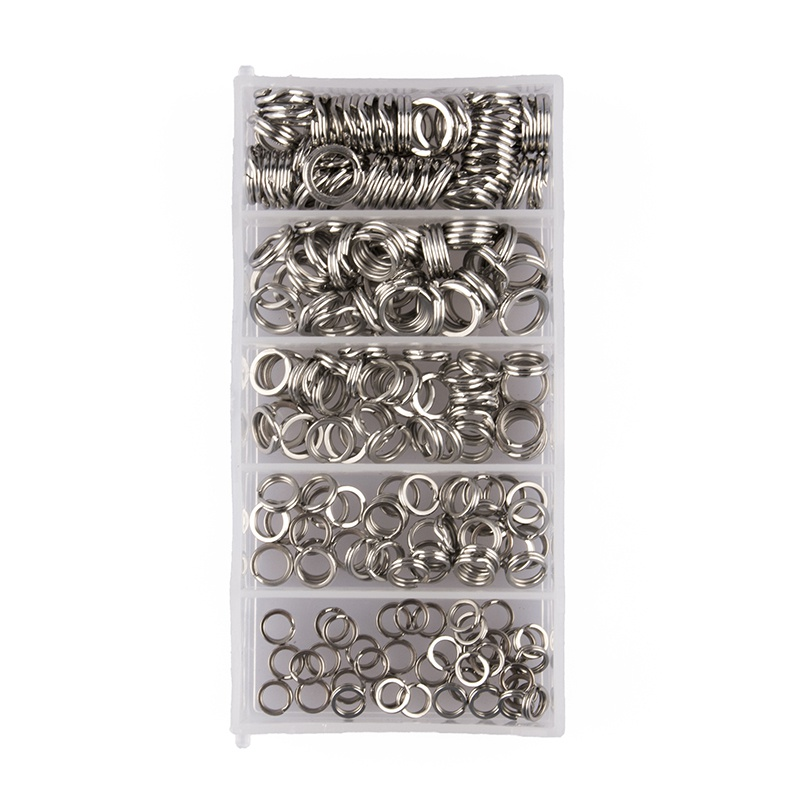 200 Pcs/Set Fish Lure Stainless Steel Split Ring With Box Heavy Duty Flashed Fish Double Ring Connector Fishing Accessories