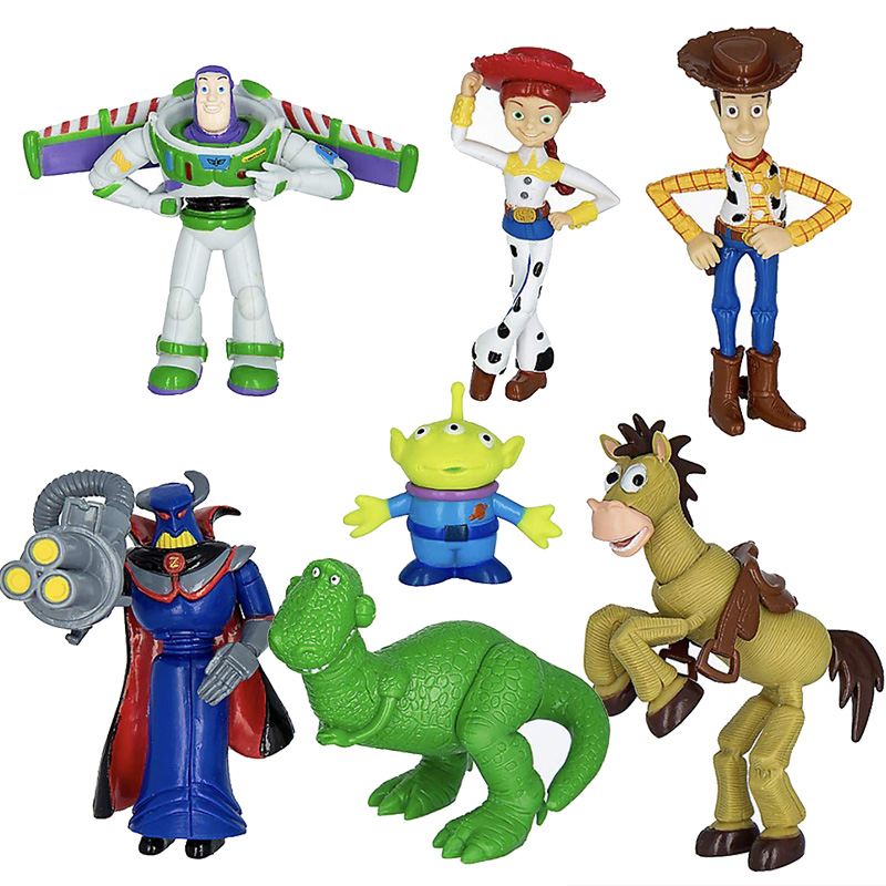 Toy Story Buzz Lightyear Woody Bulleye 7Pcs Action Figure Toy Xmas Gift For Kids