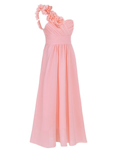 Image 2 - 4 14Y Girls Dress Formal Party and Wedding Bridesmaid Maxi Dress with Flower Kids Girls Summer Chiffon One shoulder Dress