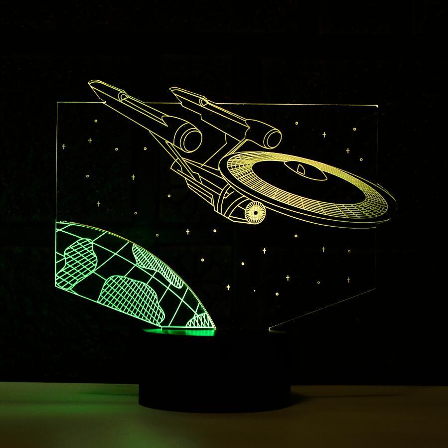 3D Novelty Light LED Table Lamp 3D Light Star War Star Trek UFO Atmosphere 3D Lamp Night Light Baby Kids Halloween Gift