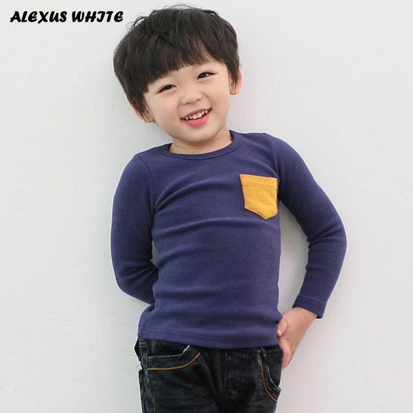 5 Colors Children Clothes Girl Boy Long Sleeve Cotton O-Neck T Shirts 2018 Kids Clothing Tops Basic Pocket Decor T-Shirt 2 7y kids boy girl flag pocket casual long sleeve t shirt tops red white