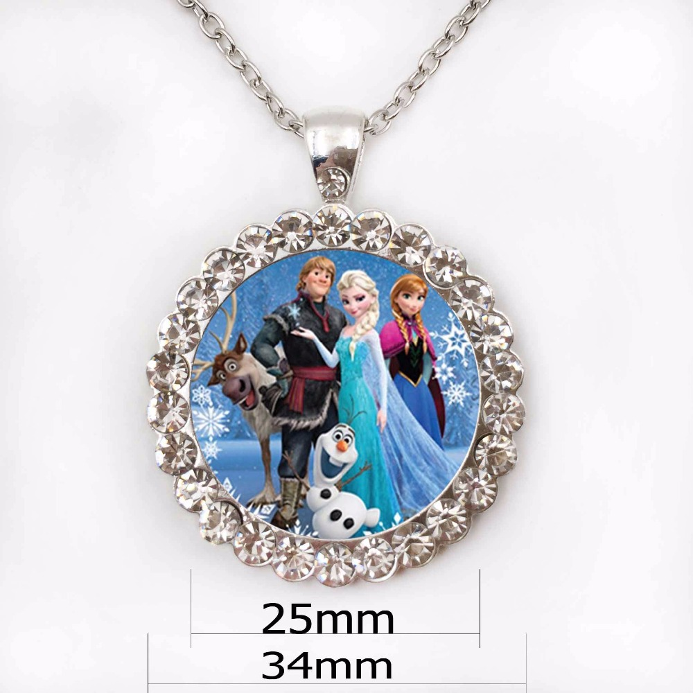 Snow Queen Diamontrigue Jewelry: Wholesale Round Glass Necklace Queen Elsa Necklace Snow