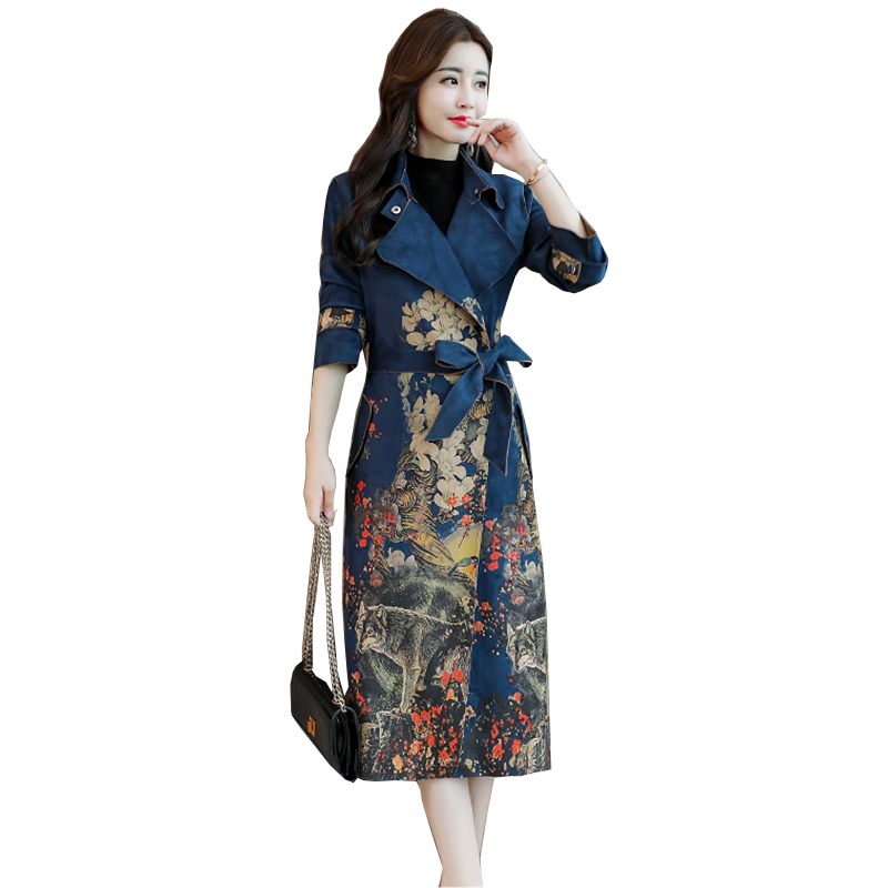 Turn down collar Vintage Print trench coat Casual leather pocket long women autumn coat Winter warm outwear overcoat female