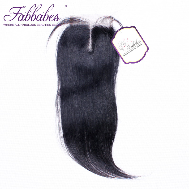 Fabbabes Peruvian Straight Hair Lace Closure Middle Part Remy Human Hair Closure 4x4 Swiss Lace 1Piece Free Shipping
