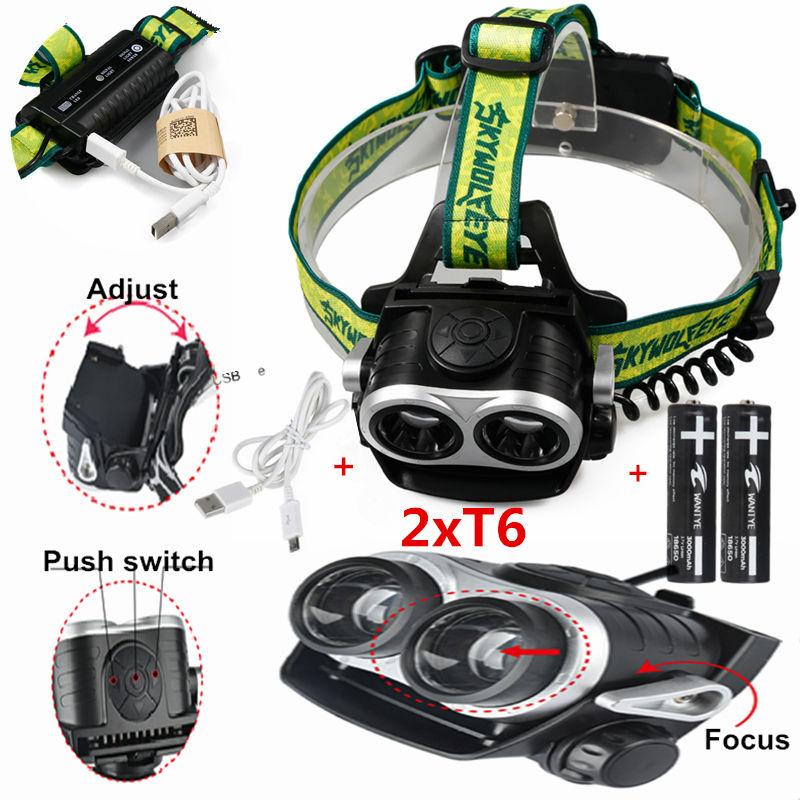 цена на 4000Lm LED Zoom Headlamp 2x XM-L T6 Headlight 3 Modes Head light lamp+2x18650 batteries+USB charger