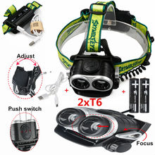 4000Lm LED Zoom Headlamp 2x XM-L T6 Headlight 3 Modes Head light lamp+2×18650 batteries+USB charger