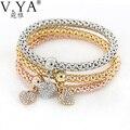 3Pcs/set Gold Filled Bracelet Heart Charm Elastic Anchor Bracelets For Women Pulseras Cute Animal Multilayer Corn Bangle Feminin