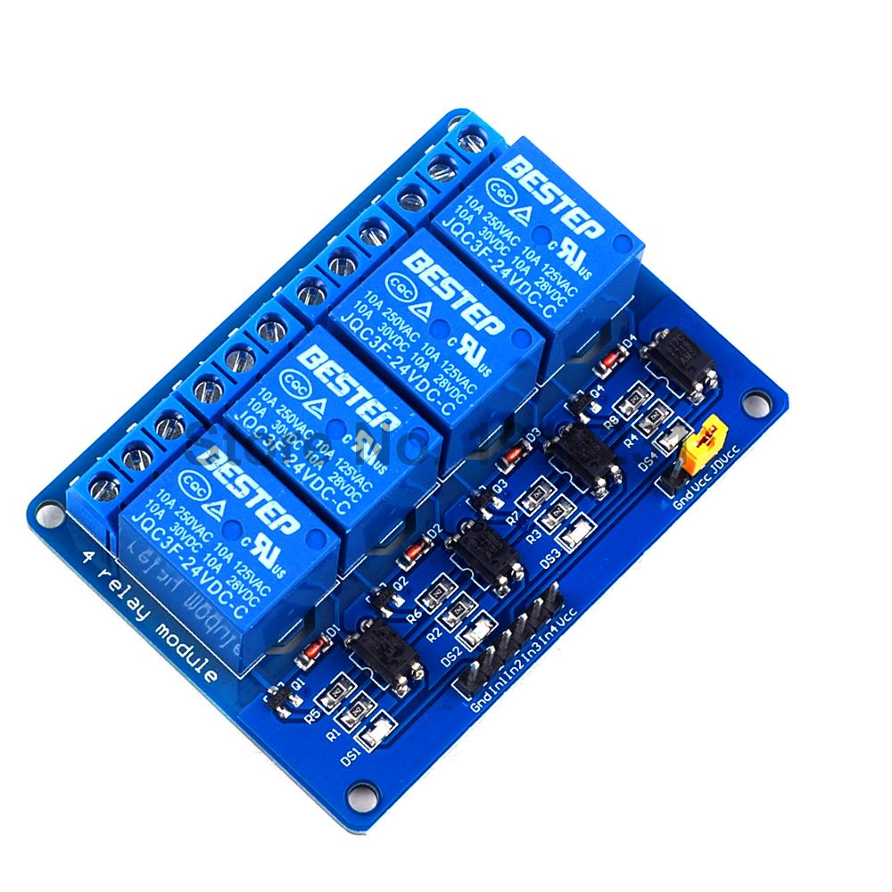 1PCS 4 Channel 24V Relay Module Control Relay 4Channel Relay Module for Arduino fc 16 b 1 channel 24v relay module blue