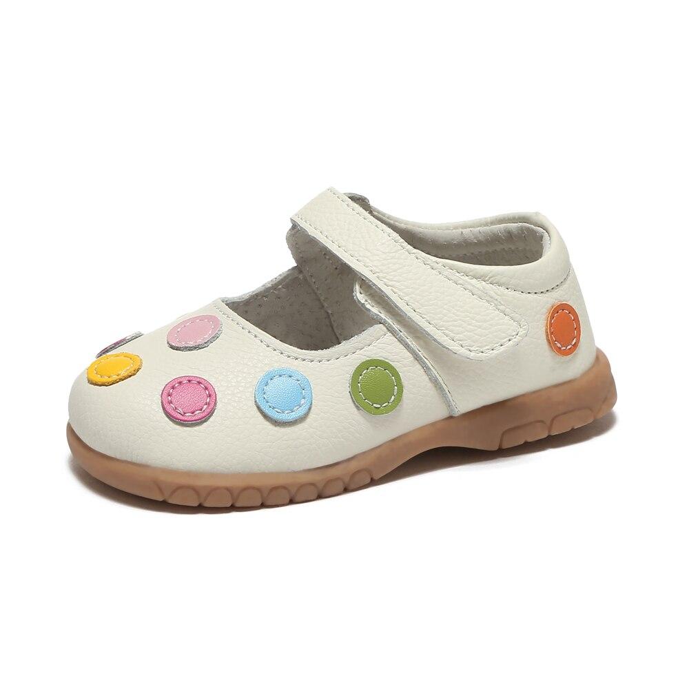 Классика! Обувь для девочек с белым узором в горошек; сезон весна-осень; обувь из натуральной кожи для маленьких детей; детская обувь mary jane; мягкая подошва для малышей